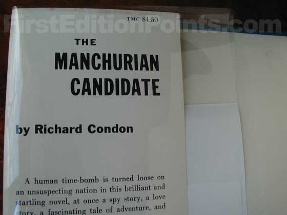 Picture of dust jacket where original $4.50  price is found for The Manchurian Candidate.