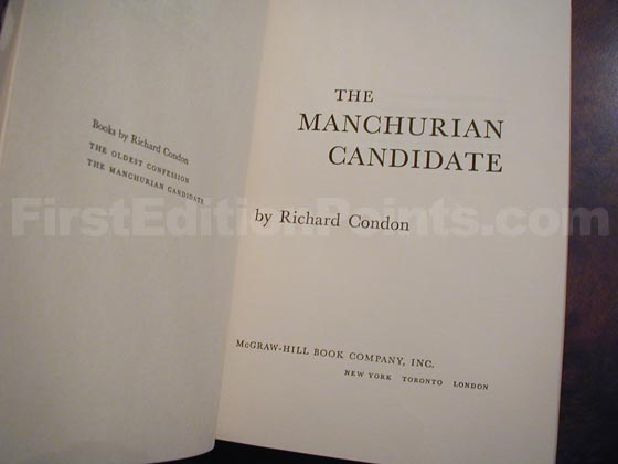Picture of the first edition title page for The Manchurian Candidate.