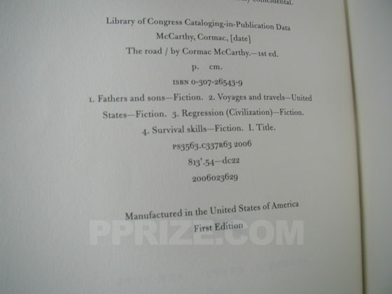Picture of the first edition copyright page for The Road.