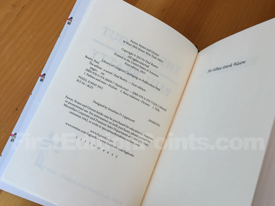 Picture of the first edition copyright page for The Sellout.
