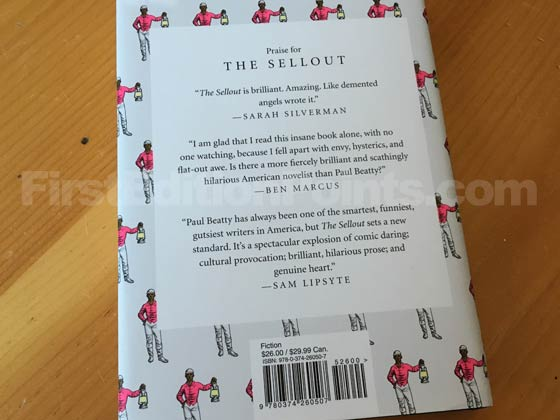 Picture of the back dust jacket for the first edition of The Sellout.