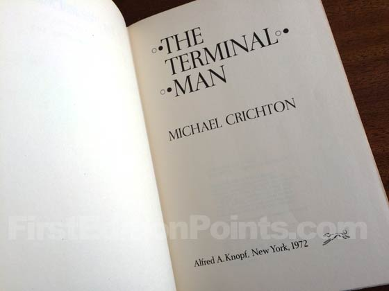 Picture of the first edition title page for The Terminal Man.