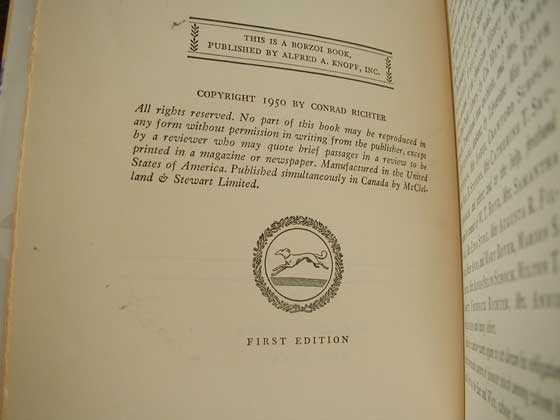 Picture of the first edition copyright page for The Town.