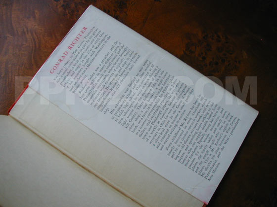 Picture of the back dust jacket flap for the first edition of The Town.
