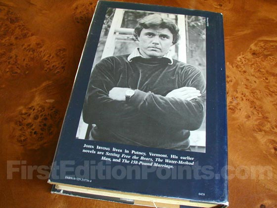 Picture of the back dust jacket for the first edition of The World According to Garp.