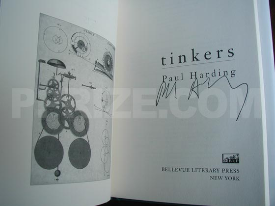 This is the title page from the first edition hardcover of Tinkers that was distributed