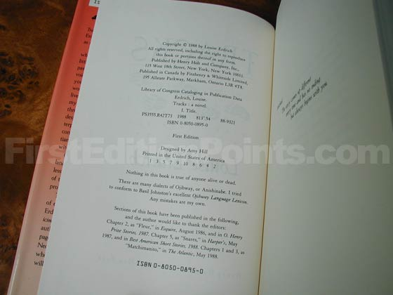Picture of the first edition copyright page for Tracks.