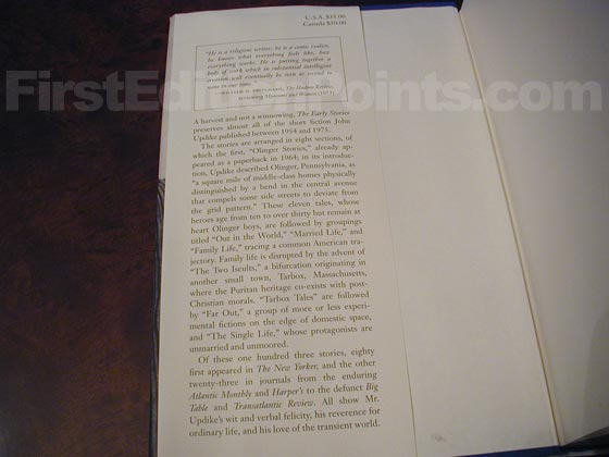 Picture of dust jacket where original $35.00 price is found for The Early Stories: