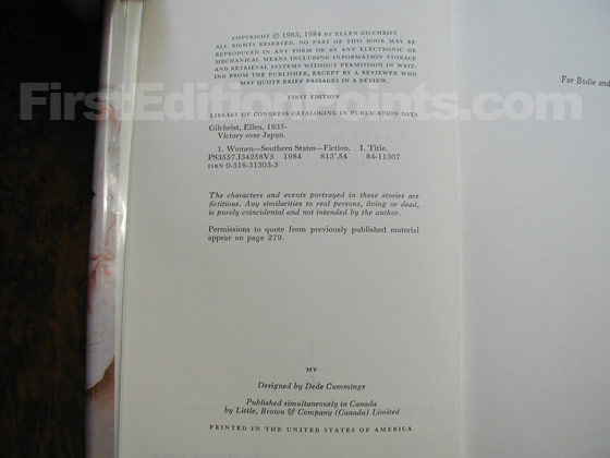 Picture of the first edition copyright page for Victory Over Japan.