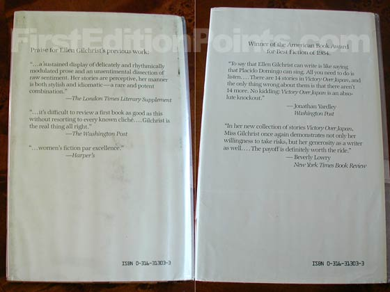 The book on the left is the first issue dust jacket with the three reviews.  The book on