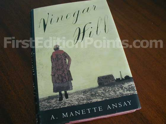 Picture of the 1994 first edition dust jacket for Vinegar Hill.