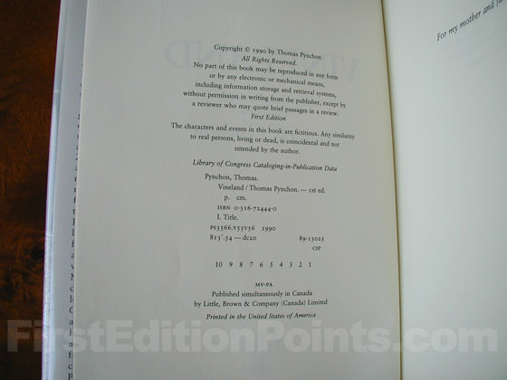 Picture of the first edition copyright page for Vineland.